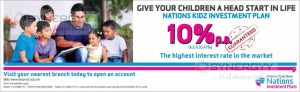 Highest Interest rate for Children Account from Nation Trust Bank (10% p.a)