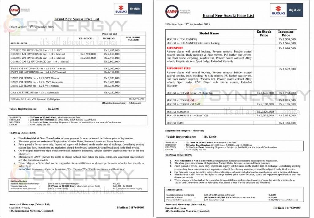 Maruti Suzuki Brand New Car Prices in Sri Lanka - Updated 17th September 2015