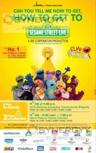 Sesame Street Live children show in Kandy & Colombo on 14th & 15th February 2015