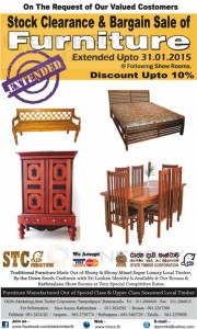 Stock Clearance & Bargain Sale of State Timber Corporation Furniture – 31st January 2015