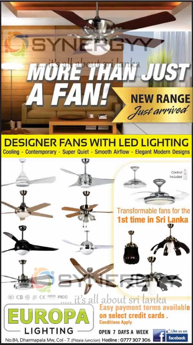 Designer Fans With Led Lighting Now Available In Sri Lanka
