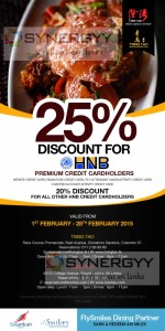 Discount up to 25 for HNB Credit Card from Tsing Tao and Loon Tao till 28th February 2015