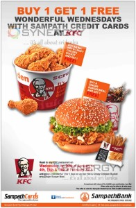 KFC Buy 1 Get 1 Free on Wednesday for Sampath Bank Credit Cards