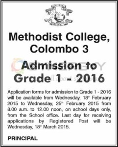 Methodist College, Colombo 3 Grade 1 School Admission for 2016 – Open now