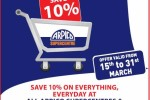 10% off at Arpico Supercenter for Pan Asia Bank Credit Card