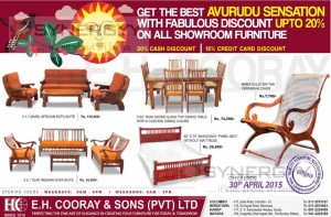 20% Discount on E.H.Cooray & Sons Furniture till 30th April 2015