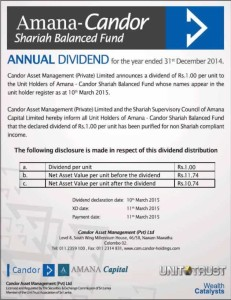 Amana- Candor Shariah Balanced Fund – Annual Dividend for Year end 2014