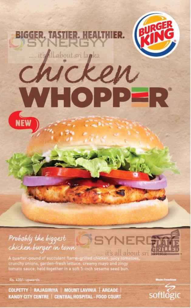 Burger King Chicken Whopper For Rs 420 Now 171 Synergyy