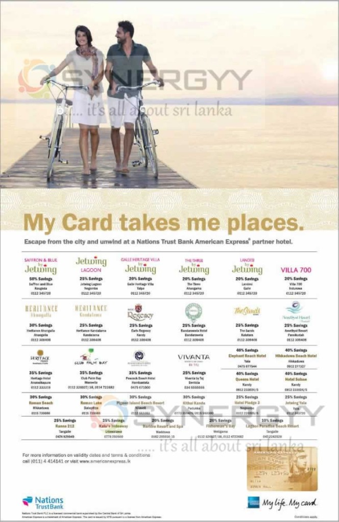 Discount upto 50% for American Express Credit card in Hotels in Sri Lanka