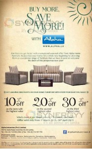 Discounts upto 30% from Alpha Furniture till 30th April 2015