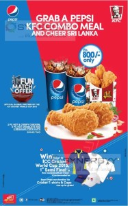 Grab a Pepsi KFC Combo Meal And Cheer Sri Lanka for Rs. 800- Only