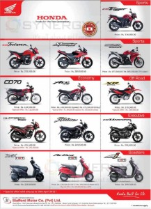 Honda Motor Cycle Prices in Sri Lanka – From Stafford Motors – Updated March 2015