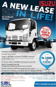 Isuzu Noa Truck for Rs. 3,300,000 and Leasing Facility from Commercial bank