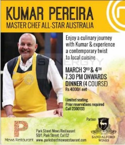 Master Chef All-Star Australia Kumar Pereira Local Cuisine in Colombo on 3rd & 4th March 2015q