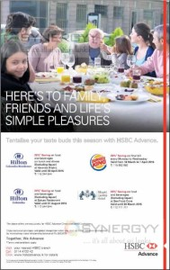 Save up to25% off for HSBC Advance Credit Card on your dine in Hotel & Restaurants