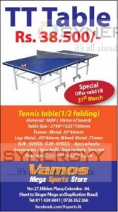 Table Tennis Table for sale – Rs. 38,500-