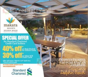Upto 40% off on Makara Resort Kalpitiya for Standard Chartered Credit Card – till 30th April 2015