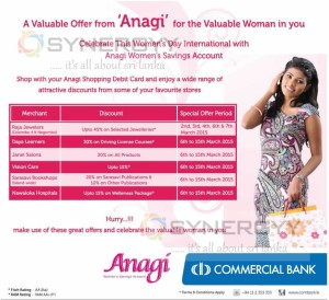 Women day Discount for Commercial bank Anagi Shopping Debit Cards