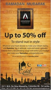 Discount upto 50% @ Kamsins for this Ramadan Festive Season
