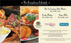 Discounts upto 25% for Credit and Debit cards @ The Kingsbury Hotel till 14th September 2015