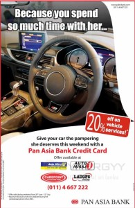 Enjoy 20% on your Car Services & repairs on 11th & 12th July 2015 at selected service Centers – Pan Asia Bank Credit Card