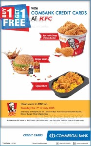 KFC Buy 1 Get 1 Free Offer for Commercial Bank Credit Card only on today – 7th July 2015