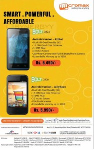 Micromax Bolt Smartphone for Rs. 5,990- upwards