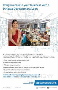 Start your new Business with Commercial Bank Diribala Development Loan