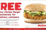 Free McSpicy Chicken Burger Free for McDonald's Delivery service