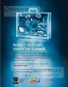 University of Colombo MBA Alumi Budget 2016 – Discussion with Finance Minister Hon. Ravi Karunanayake