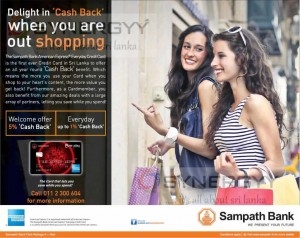 The Sampath Bank American Express Credit Card Cash Back Offers