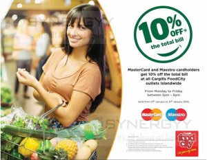 10% off at Cargills Food City from 1st to 31st Jan 2016