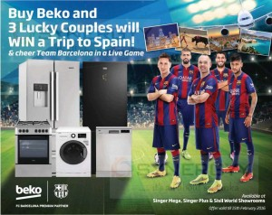 Buy Beko home appliances & electronics and stand a chance to win a trip to Spain – Offer valid till 15th February 2016