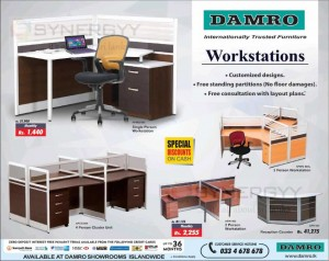 Damro Workstations (Work Place Tables and Chairs) – Special Promotion January 2016