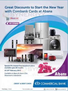 Discount upto 25% at Abans for Commercial Bank Credit Card or Debit Card – till 29th February 2016