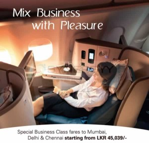 Special Business Class fares to Mumbai, Delhi & Chennai from Rs. 45,039-