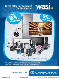 Upto 15% off for your shopping at www.wasi.lk for Commercial Bank Credit Cards – Valid till 31st January 2016