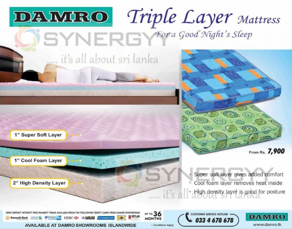 Damro Triple Layer Mattress for Rs. 7,900-