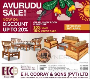 E H Cooray & Sons Furniture – Avurudu Sale