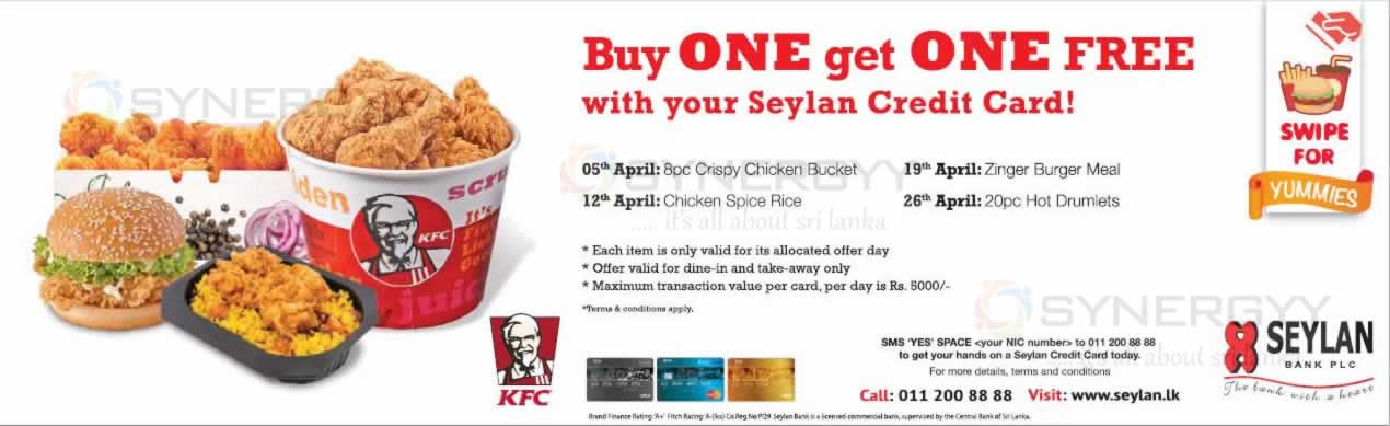 Kfc promotion for seylan bank credit card buy one get for Yamaha credit card capital one