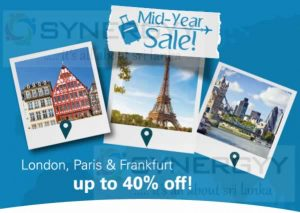 Sri Lankan Airline Mid-year sale to Europe – Discount upto 40% Book now till 7th July 2016