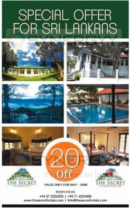 20% off at The Secret Hotel Ella and Kandy for Sri Lankans till June 2016