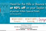 40% off at Aitken Spence Hotel for Seylan Bank Credit Card till 31st July 2016