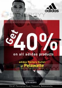 Get 40% off on all Adidas Products at Pelawatte