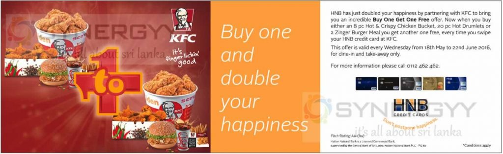 KFC Buy One Get One Free – Promotion till 22nd June 2016