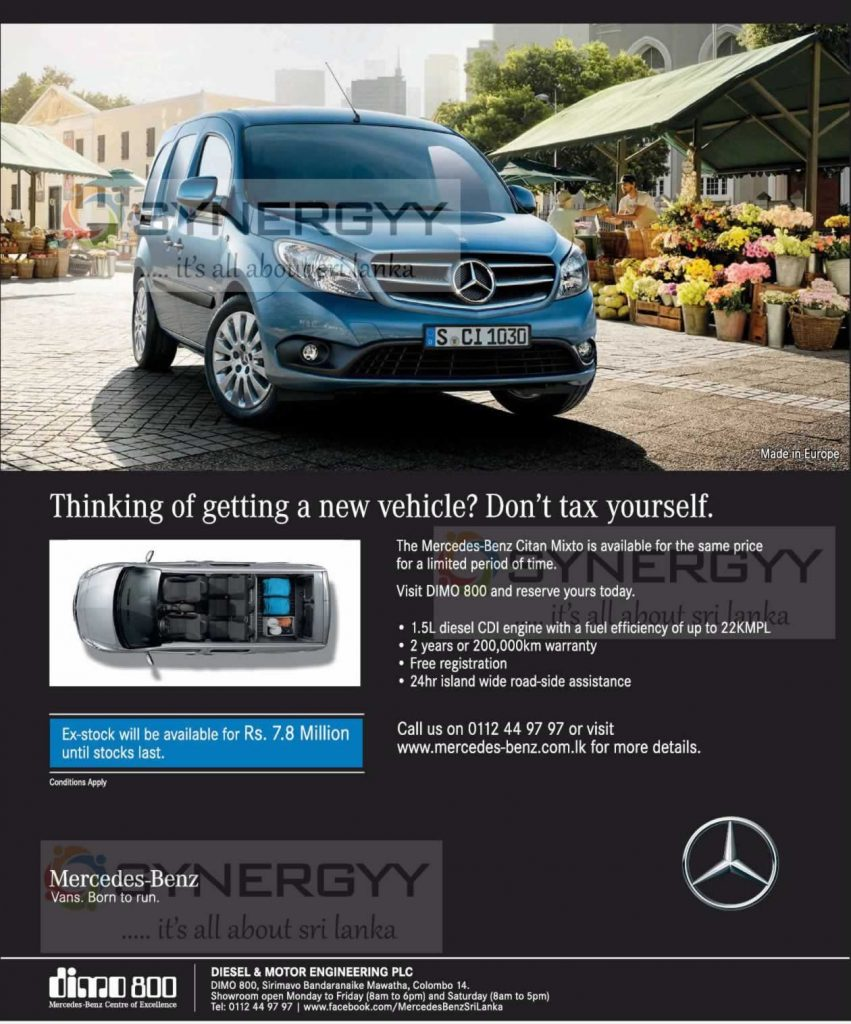 Mercedes-Benz Citan Mixto Still available at same price of Rs. 7.8 Million