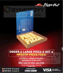 Order a Large Pizza & Get a Medium Pizza Free from Pizza hut till 30th June 2016