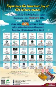People's Bank Credit and Debit Card Promotion Off till 31st August 2016