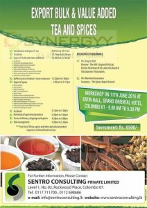 Value added Tea and Spices Exports workshop on 11th June 2016
