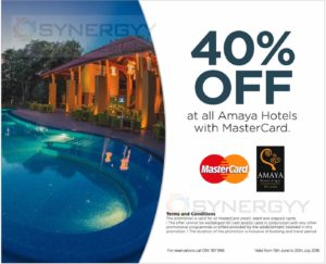 40% off at all Amaya Hotels with MasterCard – Till 20th July 2016